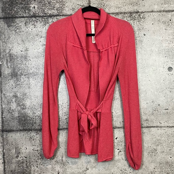 Lululemon // Pink Knit Wrap Tie Sweater Size 10